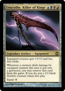 Magic: the Gathering - Unscythe, Killer of Kings - Alara Reborn by Wizards of the Coast. $1.25. From the Alara Reborn set.. This is of Rare rarity.. A single individual card from the Magic: the Gathering (MTG) trading and collectible card game (TCG/CCG).. Magic: the Gathering is a collectible card game created by Richard Garfield. In Magic, you play the role of a planeswalker who fights other planeswalkers for glory, knowledge, and conquest. Your deck of cards represents a...