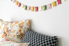Notched Flag Felt Banner // Summer Flowers // by OrdinaryMommy, $26.00
