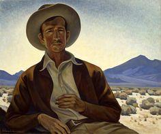 """Maynard Dixon, Painter of the Desert,"" Edith Hamlin, oil on canvas, 25 x Oakland Museum of California. Bloom Book, Maynard Dixon, Oakland Museum, Phoenix Art Museum, West Art, Cowboys And Indians, Portraits, Native American Art, American Artists"