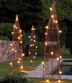 Wire Garden Trellis at Pottery Barn. Training outdoor plants can be quite the task, but with these wire garden trellis it should be a walk in the park. Theyre quite chic as well, which is an added … Outdoor Garden Lighting, Landscape Lighting, Outdoor Gardens, Outdoor Decor, Outdoor Ideas, Outdoor Plants, Outdoor Seating, Garden Lighting Ideas, Pathway Lighting