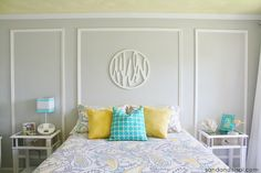 Teen Room Makeover - Gray + Yellow + Turquoise #HelloBeautiful. How awesome would trellis wall decals look in the side panels?!