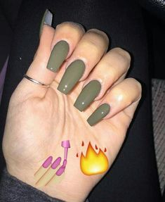 Have a look at our Coffin Acrylic Nail Ideas With Different Colors; Trendy Coffi… Have a look at our Coffin Acrylic Nail Ideas With Different Colors; Acrylic Nails Coffin Matte, Fall Acrylic Nails, Acrylic Nail Designs, Coffin Nails, Fall Nails, Cute Nails, Pretty Nails, My Nails, Olive Nails