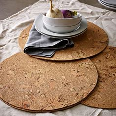 Cork Placemat Set #WestElm  12.99 set 4  14.5 dia made in portugal