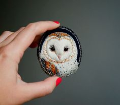 Embroiderred Owl Brooch