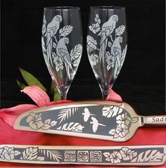 Travel themed - Personalized Jungle Themed Wedding Cake Server, Champagne Flutes for Destination Wedding - www.BradGoodellWeddings.com