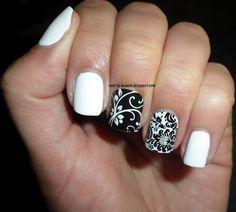Polish Love - Black & White Mani. Jamberry Nail Shields as accents #NailArt