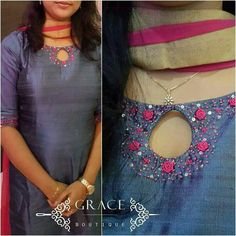 Kurtis Neck Designs with New trend style - Kurti Blouse Chudithar Neck Designs, Chudidhar Designs, Neck Designs For Suits, Kurta Neck Design, Salwar Suit Neck Designs, Neckline Designs, Salwar Designs, Kurta Designs Women, Kurti Designs Party Wear