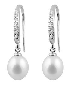 Take a look at this White Pearl & Sparkle Drop Earrings by Bella Pearl on #zulily today!