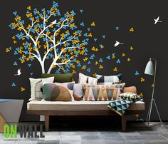 Vinyl Wall Decal Nature Design Tree Wall Decals Wall stickers Nursery wall decal wall art- Wind Blowing leaves K018