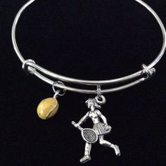Yellow Tennis Ball and Player Charm Expandable Bracelet Adjustable Wire Bangle Trendy Stacking Team Sport Coach Gift Coach Gifts, Team Gifts, Trendy Jewelry, Modern Jewelry, Tennis Gifts, Tennis Party, Softball Gifts, Cheerleading Gifts, Basketball Gifts