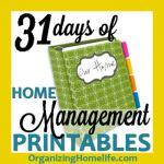 31 Days of Home Management Binder Printables | Organizing Homelife