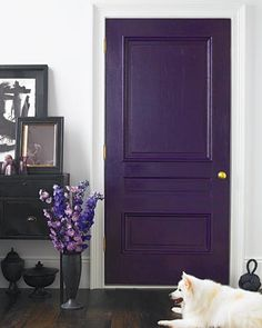 colored door instead of accent wall... LOVE THIS!
