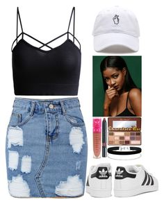 """BBHMM ♡$♡"" by imahniwilliams ❤ liked on Polyvore featuring adidas Originals, Too Faced Cosmetics, Miss Selfridge, Jeffree Star and Nudestix"