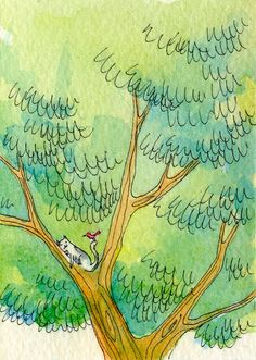 paintings by nicole wong | DAILY PAINTERS MARKETPLACE: ACEO by Nicole Wong -- Relaxing in a Tree