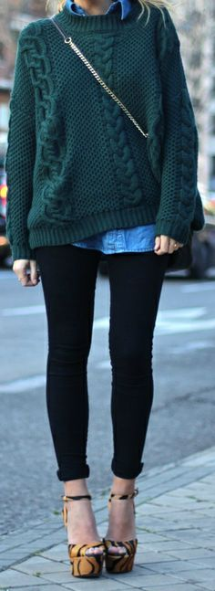 Cable Knit Sweater + Chambray...love the dark green color. This shade of green is cool.