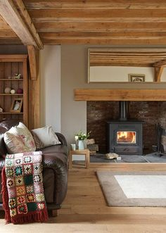 Border Oak - Cottage Interior with inglenook fireplace. Light wood, space of inglenook for a woodburner Cottage Living Rooms, Cottage Interiors, New Living Room, Log Burner Living Room, Cottage Lounge, Country Fireplace, Inglenook Fireplace, Fireplaces, Simple Fireplace