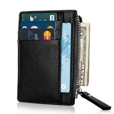 Slim Wallet Credit Card Case Sleeve Card Holder Super Thin 6 Card Slots Compact Wallet with zipper (Black) Iphone Wallet Case, Card Wallet, Card Case, Rfid Blocking Wallet, Slim Wallet, Card Holder, Compact, Yup, Wallets