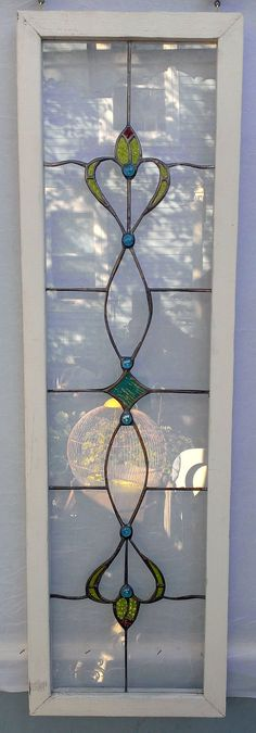 Nice Handmade Stained Glass Transom Sidelight Window by PetersInc