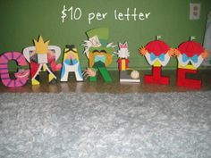 Alice in Wonderland Character Letter Art Alice In Wonderland Bedroom, Alice In Wonderland Characters, Alice In Wonderland Tea Party, Disney Letters, Character Letters, Disney Diy, Letter Art, Nursery Themes, My New Room