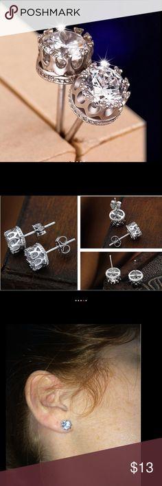925 Sterling silver 8mm cz earrings 8mm CZ Diamond 925 Sterling Silver Earrings for Women Men Jewelry Stud Earrings Jewelry Earrings