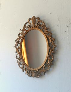 Gold Princess Mirror - Ornate Vintage Oval Brass Frame - 13 by 10 inches on Etsy, $46.50