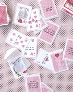 DIY playing card Valentines. You could hand write the notes on the outside with a thin Sharpie to save time.