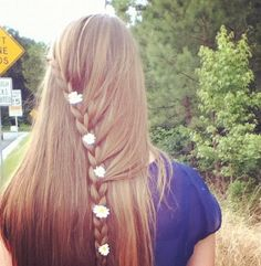 Dutch braid in middle of hair with flowers !