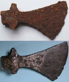 [Artefact] Ax from Viking era, before and after conservation 10th–11th century