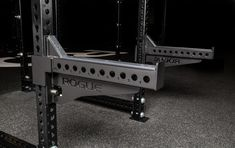 These heavy duty Monster Spotter Arms allow for safety and functionality when working off the front of a Monster Rack. Available here at Rogue Fitness. Crossfit Equipment, Commercial Fitness Equipment, No Equipment Workout, Workout Stations, Home Gym Garage, Plate Storage, Smith Machine, Laser Cut Steel, Rogue Fitness