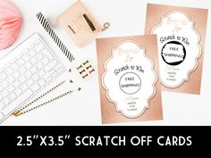Win Free Stuff, Scratch Off Cards, Rose Gold Foil, Note Cards, Stationery, Graphic Design, Birthday, Collection, Stationeries