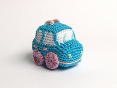 Sky blue crochet car - amigurumi keychain - light blue, lilac, salmon, white, light green and pink colors