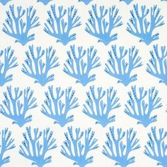 Stylized branches of coral are the centerpiece of this bold, fetching pattern by English printmaker Molly Mahon. Color: Blue Coral Fabric, Linen Fabric, Coastal Wallpaper, Blue Wallpapers, Coral Blue, Wall Collage, Centerpieces, Schumacher, Prints