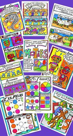 Voici une collection de 10 exercices, couvrant tout le langage plastique des arts au primaire. 10 feuilles reproductibles pour vos élèves. Chacune de ces feuilles peut servir pour enseigner les notions du langage plastique. Vous pouvez aussi les utiliser comme enrichissement ou évaluation. Pour chaque exercice, un feuille-réponse en couleur est proposée. Vos cours seront complets et amusants. Arts plastiques - éducation
