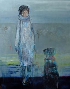 Marga Klumper. Woman with Dog. Vrij werk, gelaagd in olieverf. Uit serie vrouwen/meisjes