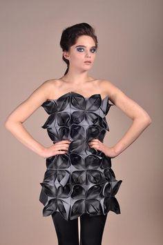 Sophie#marionnet#origami#leather#salon#cuir#paris Origami, Peplum Dress, Strapless Dress, Bespoke, Shoulder Dress, Studio, Skirts, Leather, Paris