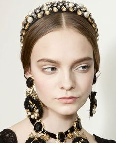 Dolce and Gabbana head band, ear-rings and necklace - so rich, so chic, so much...or not?