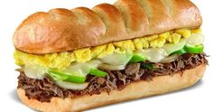 """Steak & Egg Sandwich - While Firehouse Subs' restaurants in the U.S. don't open for breakfast, the chain's locations in Puerto Rico do serve morning eaters. The """"Desayuno"""" menu includes four full breakfasts and assorted pastries and sides. One of the most popular items is the overstuffed steak and egg sandwich on a toasted sub roll."""