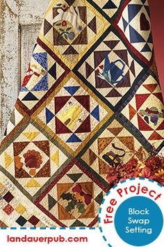 A great 12-block quilt setting - perfect for a sampler quilt or a block swap with your friends or guild members - free pattern from the book Quilting Among Friends by Jill Reber