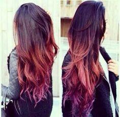 Love this brown orange purple ombre hair