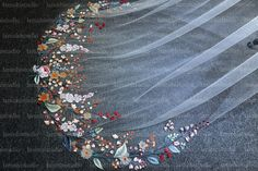embroidered veil Got Married, Getting Married, Flower Veil, Organza Flowers, Wedding Veil, Tapestry, Embroidery, Bridal, Lace