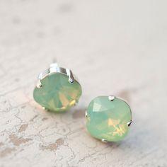 Mint opal green seafoam crystal Swarovski Stud by NotOneSparrow