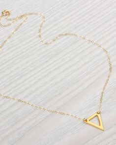 db31e35a2b90 Triangle Necklace • Little Gold Necklace • Tiny Triangle Necklace •  Delicate Necklace • Gold Filled Necklace • Geometric Necklace
