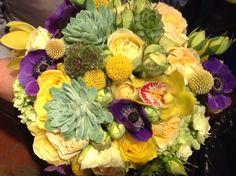 #Organic, vibrant yellow, purple and green fall #wedding  bouquet. teresaferrando.com