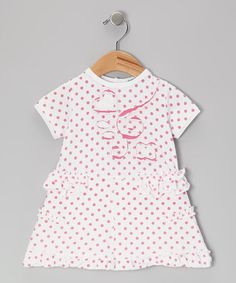 Take a look at this Light Pink Polka Dot Accent Dress by blü on #zulily today!