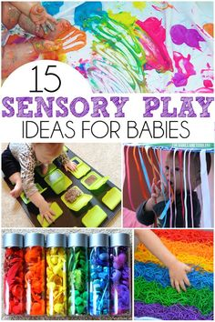 15 Sensory Play Ideas For Babies - Includes a ton of easy taste safe recipes, upcycled sensory boards, and sensory bottles! 15 Sensory Play Ideas For Babies - Includes a ton of easy taste safe recipes, upcycled sensory boards, and sensory bottles! Baby Sensory Play, Baby Play, Baby Toys, Baby Sensory Bottles, Baby Sensory Bags, Sensory Bins, Diy Sensory Toys For Babies, Diy Toys For Toddlers, Sensory Bottles For Toddlers