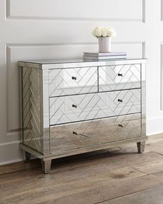 Horchow & Inteior Home Spaces sell this. Horchow - Regina Andrew Design - Troy Chevron Mirrored Chest of Drawers X Mirror Chest Of Drawers, Glass Dresser, Dresser With Mirror, Dresser As Nightstand, Mirror Bed, Dresser Pulls, Nightstands, Glass Furniture, Mirrored Furniture