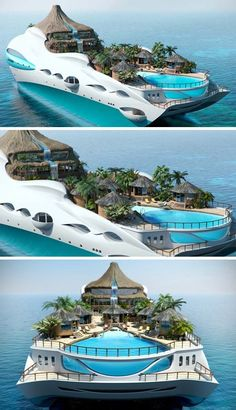 This in only under my pool category because it has a pool, but are you kidding me?  Do people really have this much money to waste on themselves instead of charitable causes?  If it is their money, who am I to ask?   Yacht designed like a Tropical Island Paradise.                  If I ever had a home like this, I'd never leave!!! #vacations #exotic #travel
