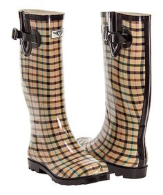 This Tan & Black Plaid Rain Boot by Forever Young Inc. is perfect! #zulilyfinds