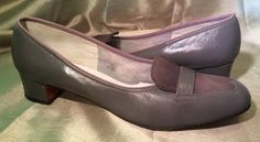 "Mr. Salvatore of Carmel Ferragamo Gray Leather Pumps Suede Toe 1.5"" Heels 9.5B #SalvatoreFerragamo #PumpsClassics #Pumps"