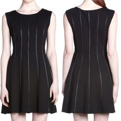 Bailey 44 Deep Web Dress The Bailey 44 Deep Web Leather Piping Dress is a little black dress with attitude! This sleeveless dress features a fit and flare silhouette. Lined. Fabric: 61% rayon, 35% nylon, 4% spandex. Excellent condition! Bailey 44 Dresses